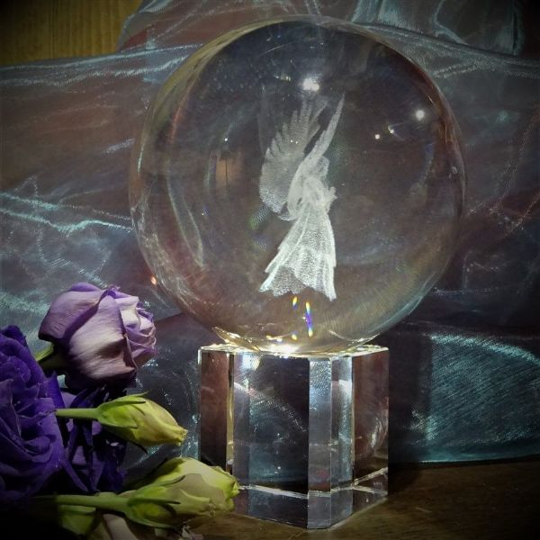 Crystal Ball with Three-Dimensional Angel and Stand